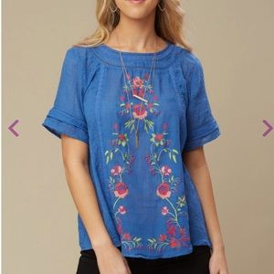 Flowy Chambray Top with Embroidered Flowers